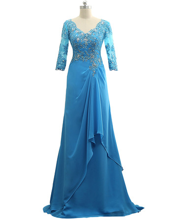 Elegant Floor Length Chiffon Mother Dress with 3/4 Long Sleeves