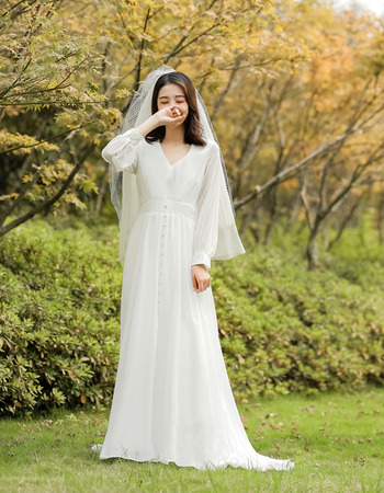 2019 New Style Long Sleeves Long Chiffon Reception Wedding Dresses