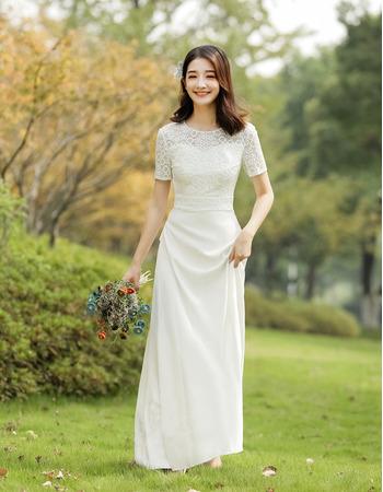 Custom Short Sleeves Floor Length Lace Satin Reception Wedding Dresses