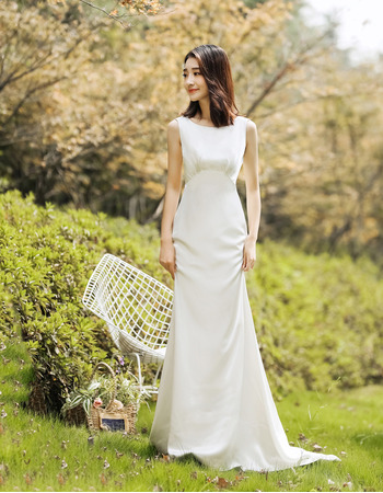 Discount Sheath Sleeveless Floor Length Satin Reception Wedding Dress