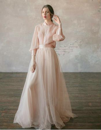 2019 New Mandarin Collar Organza Wedding Dresses with Long Sleeves