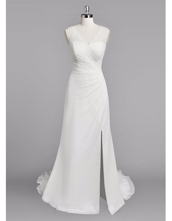 Sexy Sheath V-Neck Sleeveless Floor Length Chiffon Wedding Dresses