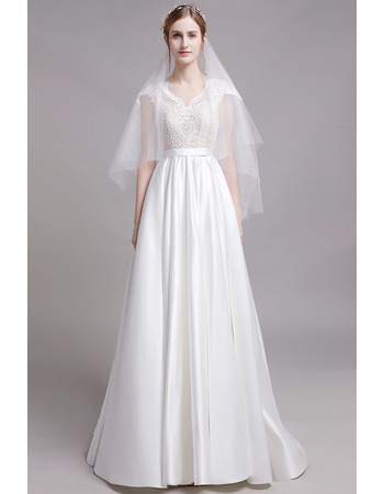 2019 New Style Short Sleeves Floor Length Lace Satin Wedding Dress