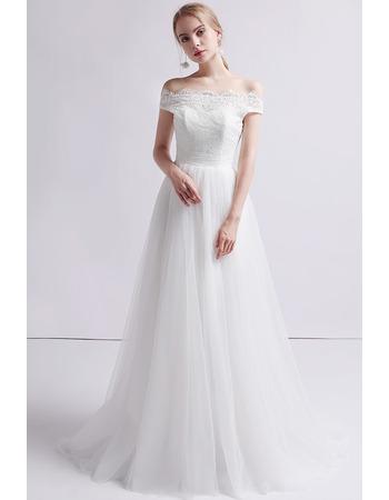 Custom A-Line Off-the-shoulder Floor Length Organza Wedding Dress