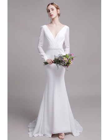 Affordable Mermaid V-Neck Long Chiffon Wedding Dress with Long Sleeves