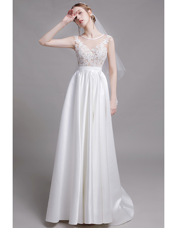 2019 Style A-Line Sleeveless Floor Length Organza Satin Bridal Dress
