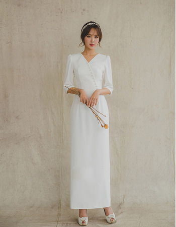 2019 New Column Ankle Length Satin Bridal Dress with Half Sleeves