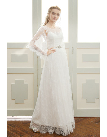 Custom Elegant Floor Length Lace Wedding Dress with Cap Sleeves