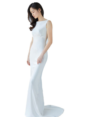 Inexpensive Sexy Sheath Floor Length Satin V-Back Wedding Dress