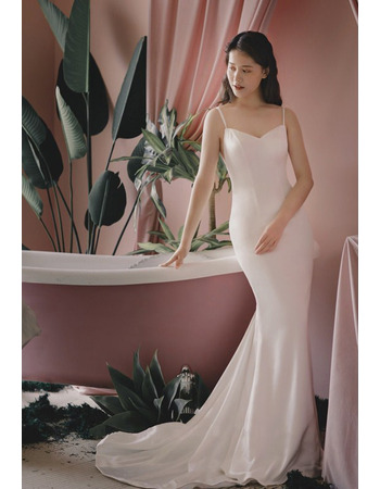 Sexy Mermaid Spaghetti Straps Floor Length Satin Bridal Dress