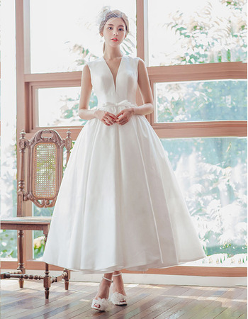 Custom Ball Gown V-Neck Sleeveless Tea Length Satin Wedding Dress