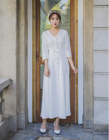 Tea Length Satin Reception Bridal Dress with 3/4 Long Sleeves
