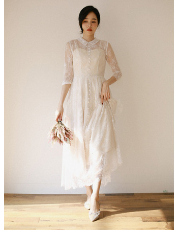 2019 New Ankle Length Lace Bridal Dress with 3/4 Long Sleeves
