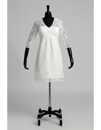 Custom Empire V-Neck Short Lace Wedding Dress with 3/4 Long Sleeves