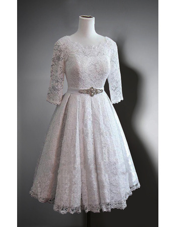 Affordable Knee Length Lace Wedding Dress with 3/4 Long Sleeves