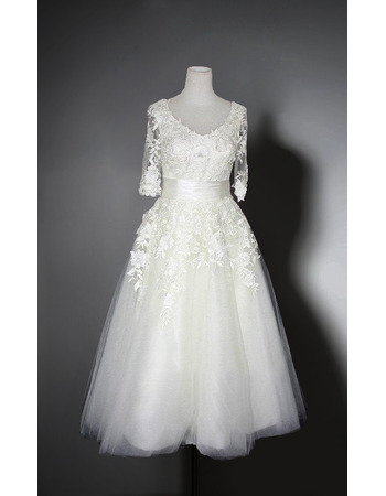Elegant V-Neck Knee Length Organza Bridal Dress with Half Sleeves