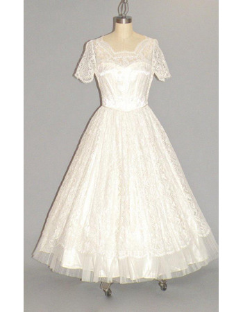 Custom A-Line Tea-Length Lace Bridal Dress with Short Sleeves