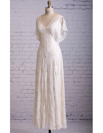 Discount V-Neck Tea Length Chiffon Wedding Dress with Cap Sleeves