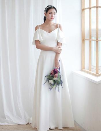 2020 New Sweetheart Long Satin Wedding Dress with Spaghetti Straps