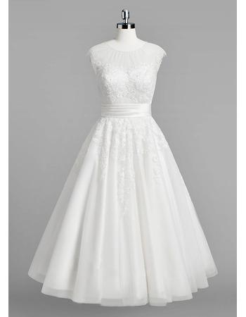 Informal A-Line Sleeveless Knee Length Satin Organza Wedding Dress