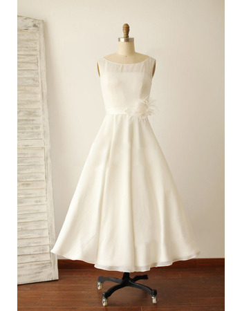 Affordable A-Line Tea Length Chiffon Reception Wedding Dress