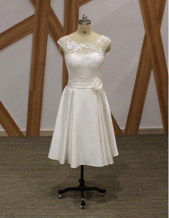 2019 New Style A-Line Sleeveless Knee Length Satin Bridal Dress