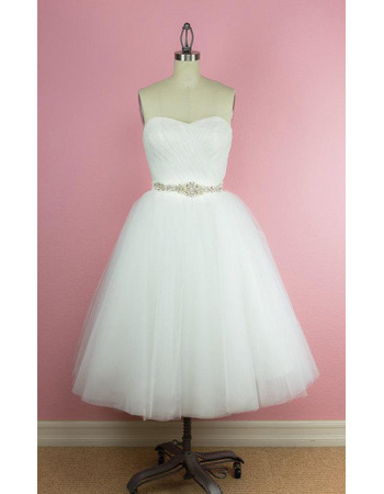 Custom A-Line Sweetheart Tea-Length Satin Organza Wedding Dress