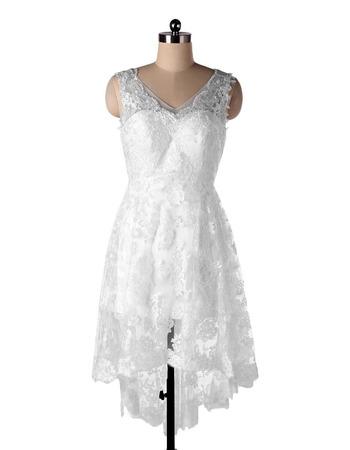 Casual A-Line V-Neck High-Low Short Lace Beach Wedding Dress
