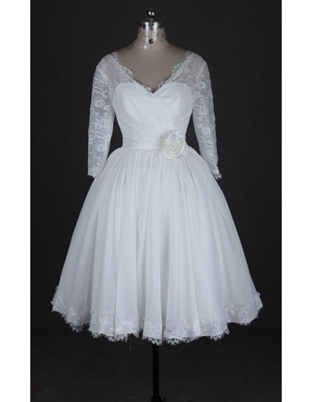 Casual V-Neck Knee Length Wedding Dress with 3/4 Long Sleeves