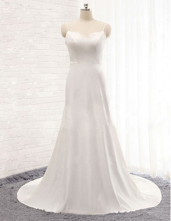 Affordable Sweetheart Long Satin Wedding Dress with Spaghetti Straps