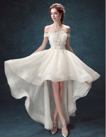 Informal A-Line Off-the-shoulder High-Low Organza Wedding Dress
