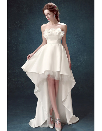 2020 New Style A-Line Strapless High-Low Satin Wedding Dress
