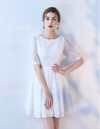 Custom A-Line Mini/ Short Lace Wedding Dress with Half Sleeves