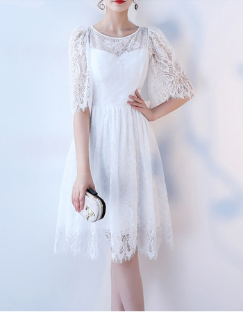 Discount Knee Length Lace Reception Wedding Dress with Half Sleeves