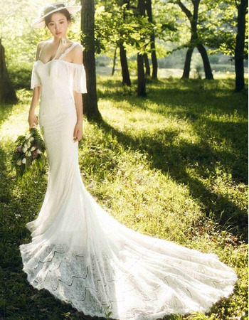 Custom Trumpet Spaghetti Straps Floor Length Lace Wedding Dress