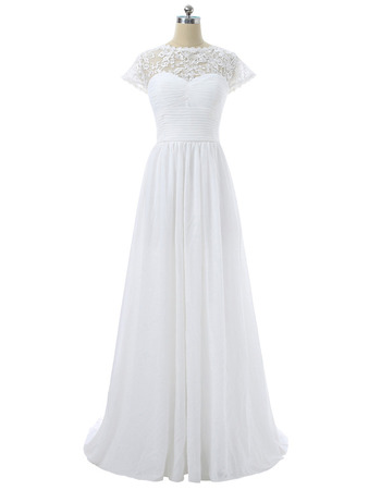 Inexpensive Floor Length Chiffon Wedding Dress with Short Sleeves