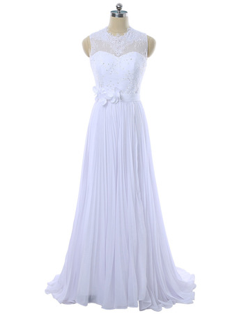 Elegant A-Line Sleeveless Floor Length Chiffon Pleated Wedding Dress