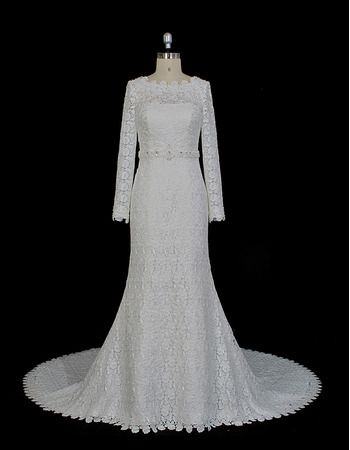 Custom Sheath Floor Length Lace Wedding Dress with Long Sleeves