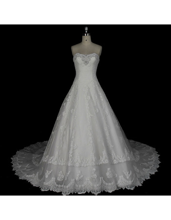 2020 New Style A-Line Sweetheart Floor Length Organza Wedding Dress
