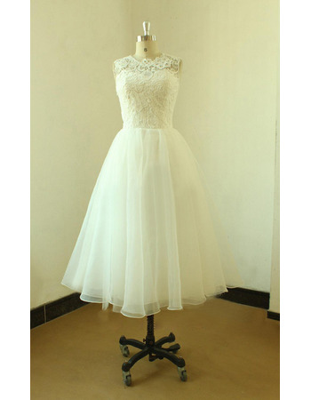 Informal A-Line Knee Length Organza Reception Wedding Dress