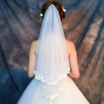 2 Layers Elbow-Length Tulle with Lace Edge White Wedding Veils