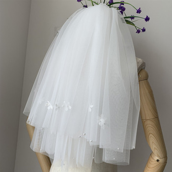 2 Layers Elbow-Length Tulle with Applique White Wedding Veils