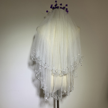 2 Layers Fingertip-Length Tulle with Sequin White Wedding Veils