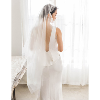 2 Layers Fingertip-Length Tulle with Applique White Wedding Veils