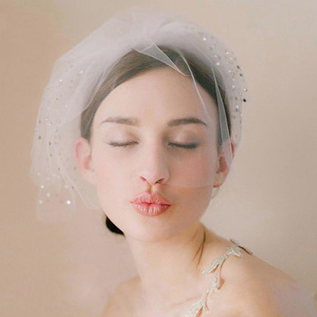 1 Layer Blusher Tulle with Beading White Wedding Veils