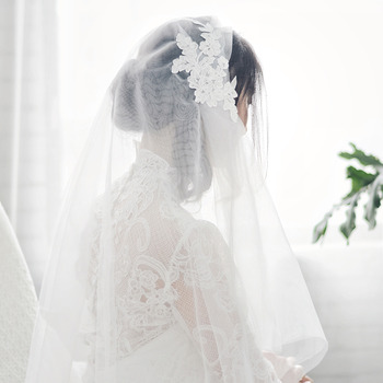 2 Layers Elbow-Length Organza with Lace White Wedding Veils