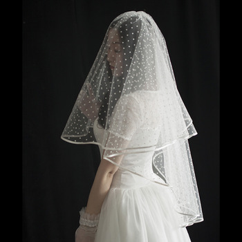 2 Layers Elbow-Length Tulle with Dot White Wedding Veils