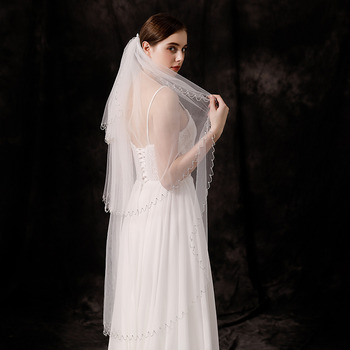 3 Layers Fingertip-Length Organza with Beading White Wedding Veils