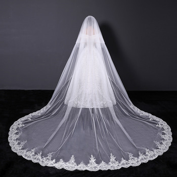 1 Layer Cathedral-Length Tulle with Lace White Wedding Veils