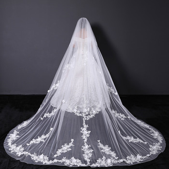 2 Layers Cathedral-Length Organza with Lace White Wedding Veils